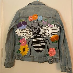 Hand-Painted Jean Jacket- Bee and Flowers